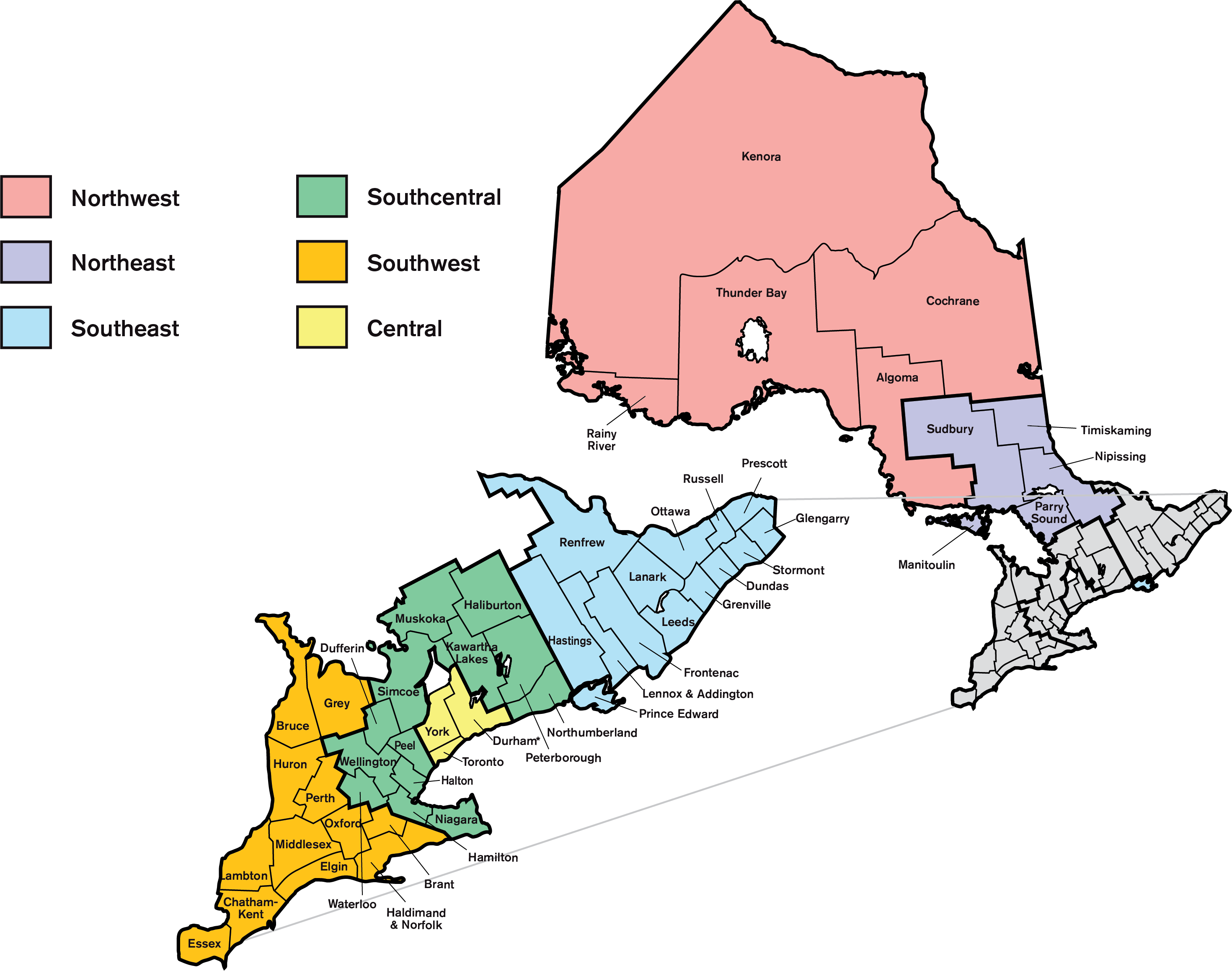A map outlining the various electoral regions for the Ontario College of Teachers 23 elected Council positions