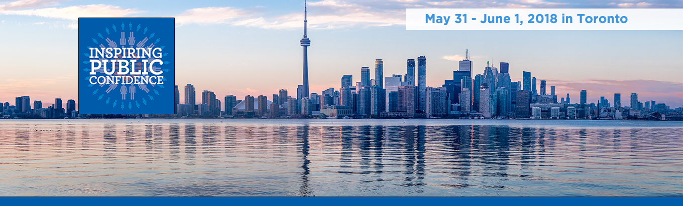 Promotional banner for the 2018 Inspiring Public Confidence conference from May 31 to June 1 2018 in Toronto. The banner contains a skyline image of the city of Toronto.
