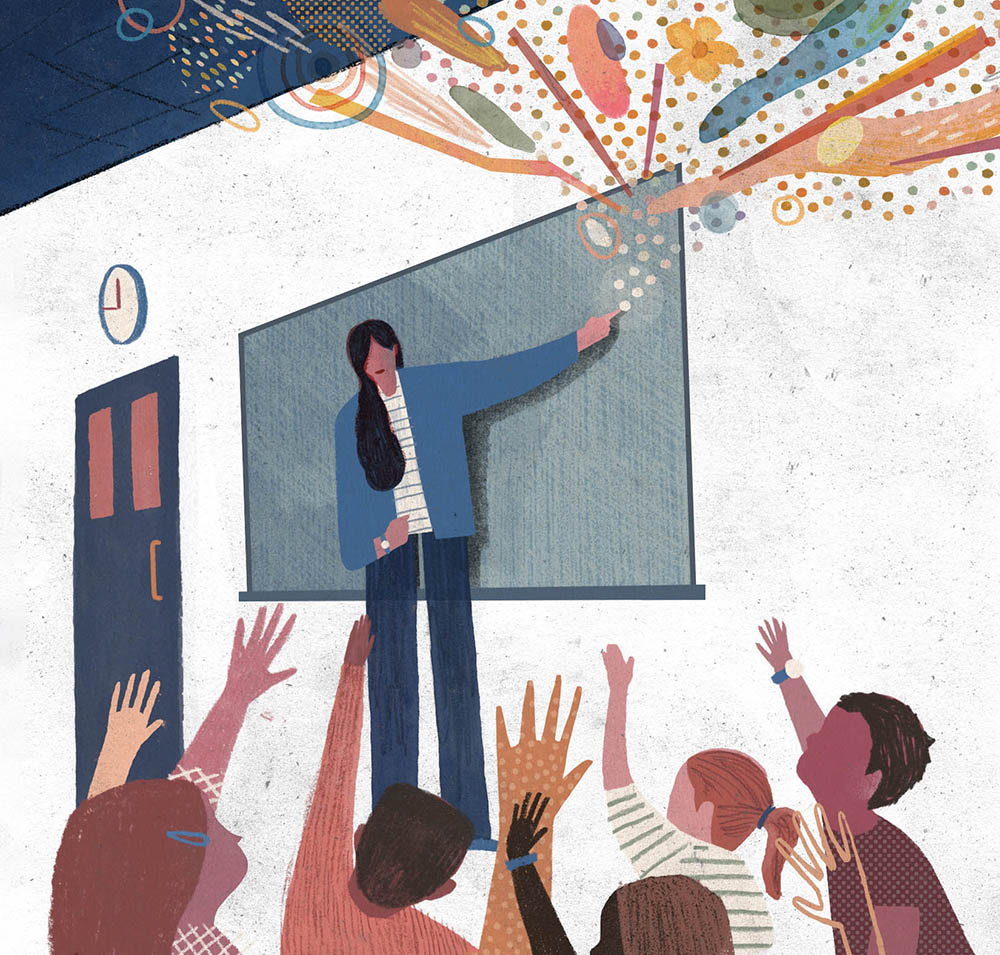 An illustration showing a teacher in front of a drawing board.